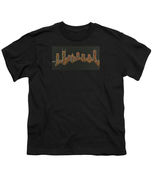 Floating Nashville Skyline Bl Youth T-Shirt by Helen Prater