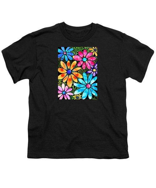 Floral Art - Big Flower Love - Sharon Cummings Youth T-Shirt by Sharon Cummings