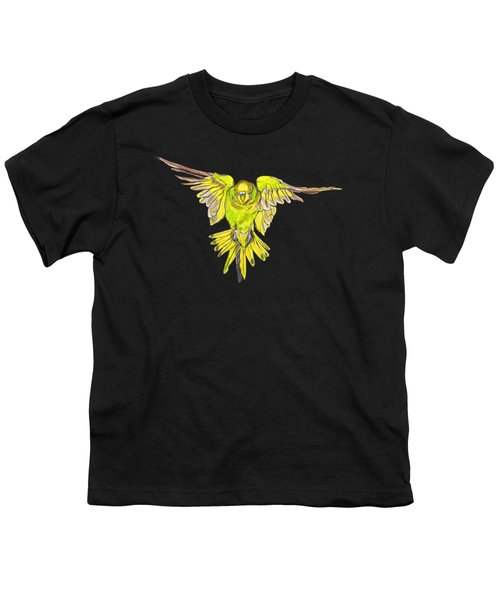Flying Budgie Youth T-Shirt by Lorraine Kelly