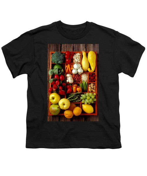 Fruits And Vegetables In Compartments Youth T-Shirt by Garry Gay