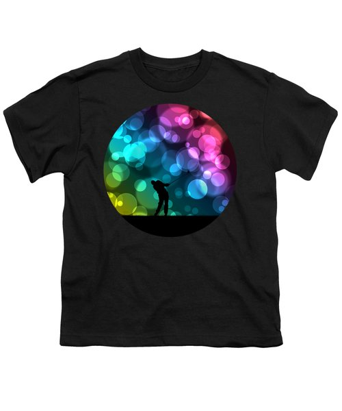 Golfer Driving Bokeh Graphic Youth T-Shirt by Phil Perkins