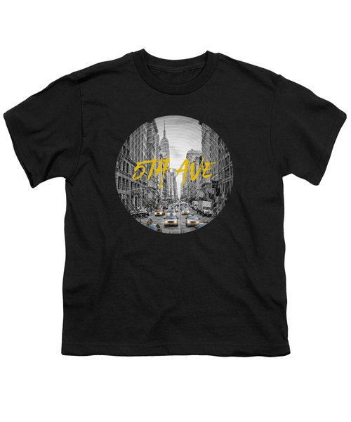Graphic Art Nyc 5th Avenue Yellow Cabs Youth T-Shirt by Melanie Viola
