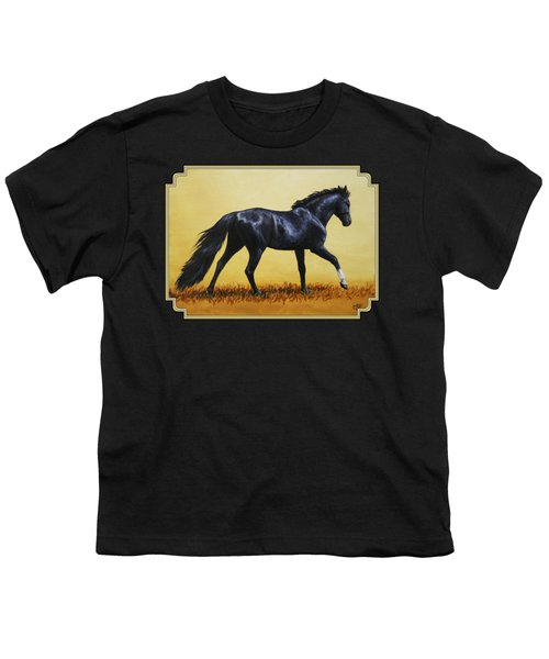 Horse Painting - Black Beauty Youth T-Shirt by Crista Forest