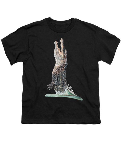 Jumping Gator Youth T-Shirt by Jennifer Rogers
