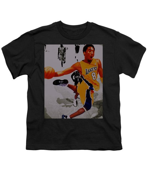 Kobe Bryant Taking Flight 3a Youth T-Shirt by Brian Reaves