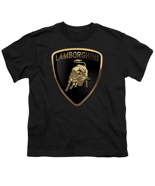 Lamborghini - 3d Badge On Black Youth T-Shirt by Serge Averbukh