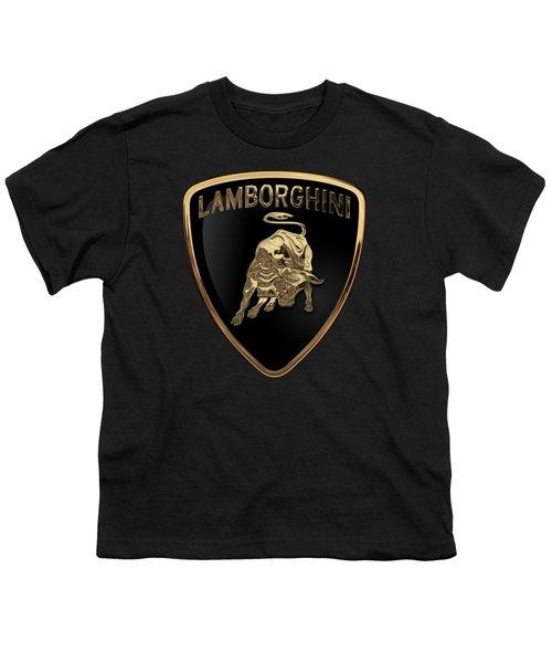 Lamborghini - 3d Badge On Black Youth T-Shirt by Serge Averbukh