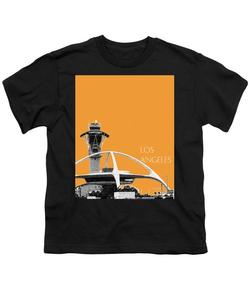 Los Angeles Skyline Lax Spider - Orange Youth T-Shirt by DB Artist