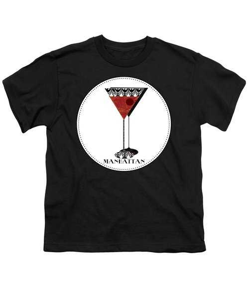 Manhattan Cocktail Pop Art Deco Youth T-Shirt by Cecely Bloom
