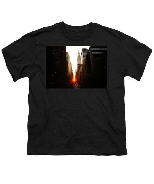 Manhattanhenge Sunset Over The Heart Of New York City Youth T-Shirt by Vivienne Gucwa