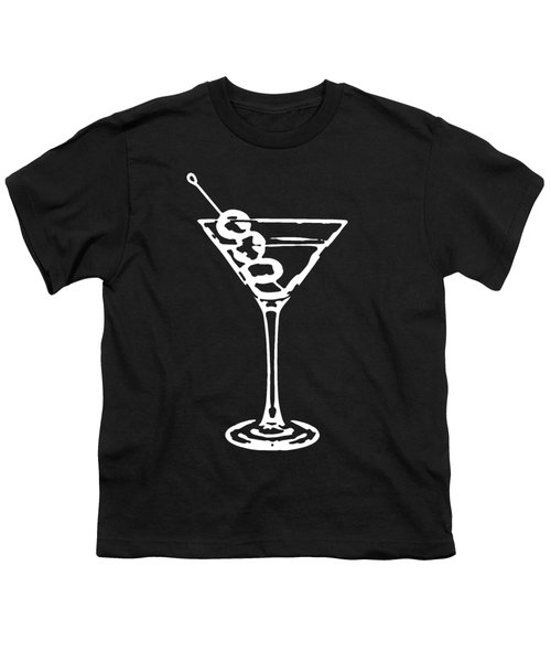 Martini Glass Tee White Youth T-Shirt by Edward Fielding