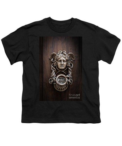 Medusa Head Door Knocker Youth T-Shirt by Edward Fielding