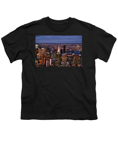 Midtown Skyline At Dusk Youth T-Shirt by Randy Aveille