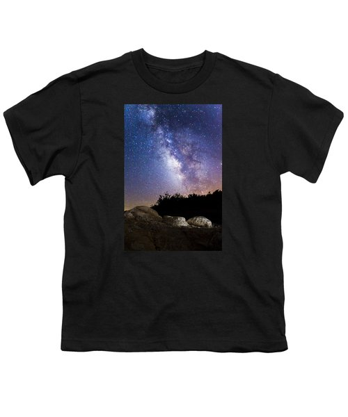 Milky Way Over A Western Diamondback Rattlesnake Youth T-Shirt by Chuck Brown