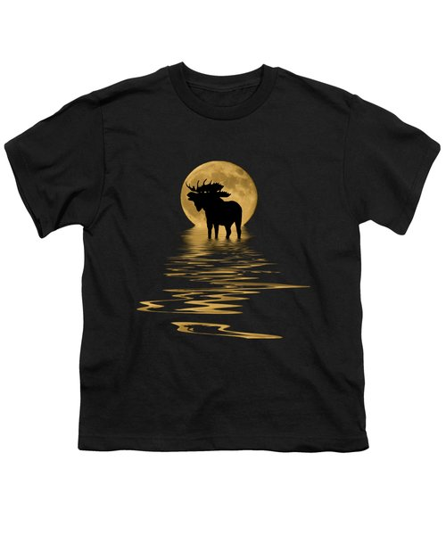 Moose In The Moonlight Youth T-Shirt by Shane Bechler