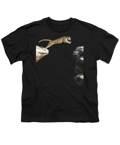 Mountain Lion Leaping Youth T-Shirt by Wildlife Fine Art