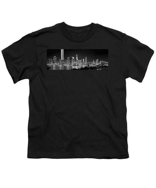 New York City Bw Tribute In Lights And Lower Manhattan At Night Black And White Nyc Youth T-Shirt by Jon Holiday