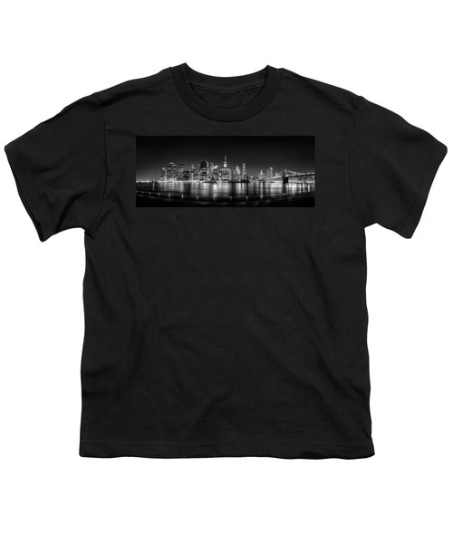 New York City Skyline Panorama At Night Bw Youth T-Shirt by Az Jackson