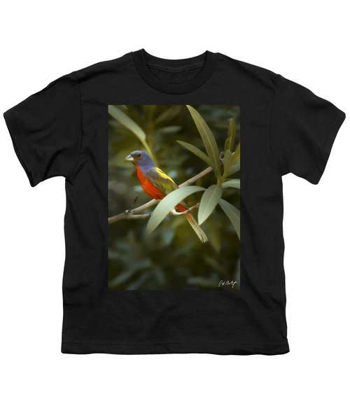 Painted Bunting Male Youth T-Shirt by Phill Doherty