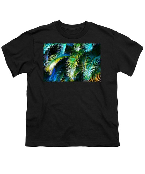 Palm Leaves In Blue Youth T-Shirt by Karon Melillo DeVega