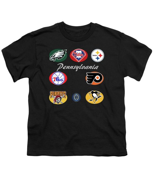 Pennsylvania Professional Sport Teams Collage  Youth T-Shirt by Movie Poster Prints