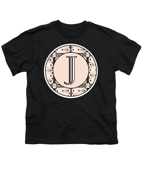 Pink Champagne Deco Monogram  J Youth T-Shirt by Cecely Bloom