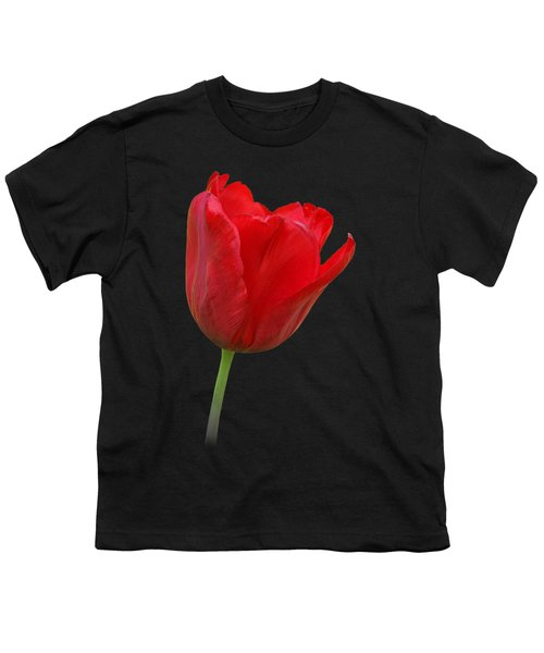 Red Tulip Open Youth T-Shirt by Gill Billington