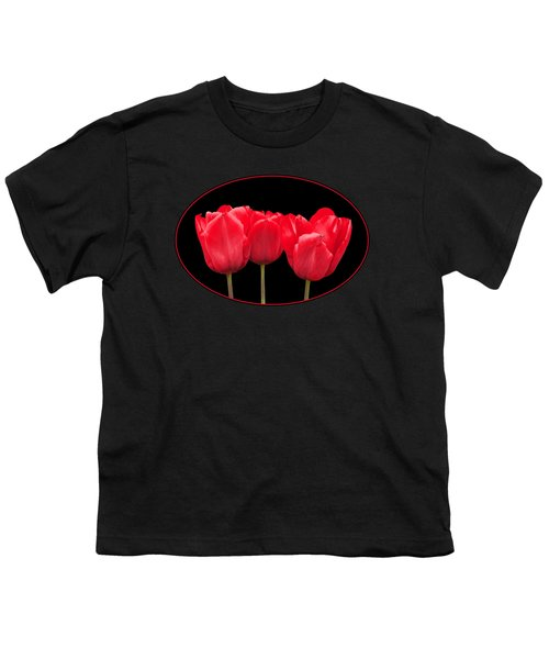Red Tulip Triple On Black Youth T-Shirt by Gill Billington