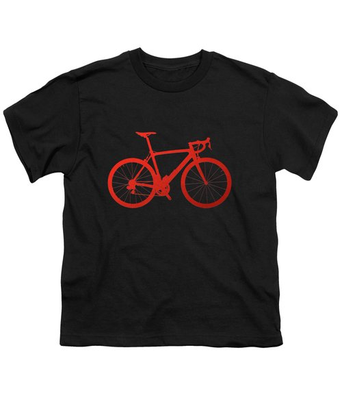 Road Bike Silhouette - Red On Black Canvas Youth T-Shirt by Serge Averbukh