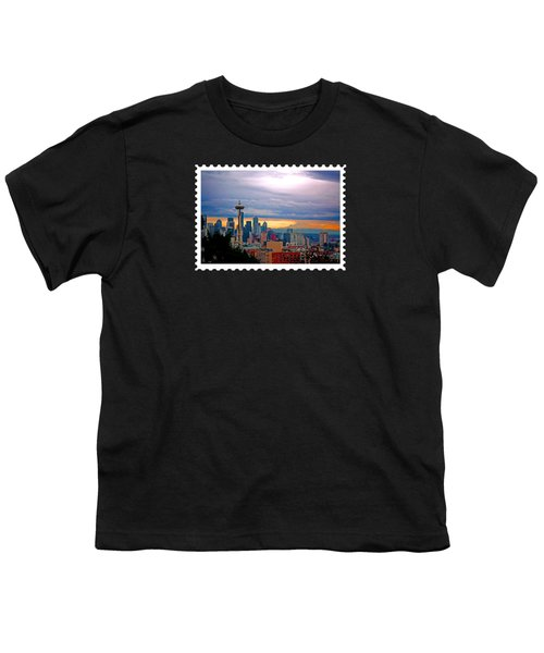 Seattle At Sunset Youth T-Shirt by Elaine Plesser