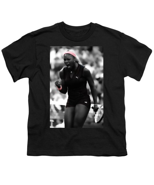 Serena Williams On Fire Youth T-Shirt by Brian Reaves