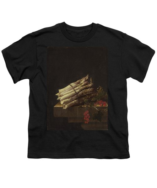 Still Life With Asparagus And Red Currants Youth T-Shirt by Adriaen Coorte