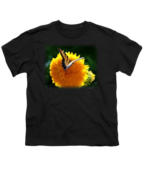 Sunflower Butterfly Youth T-Shirt by Korrine Holt