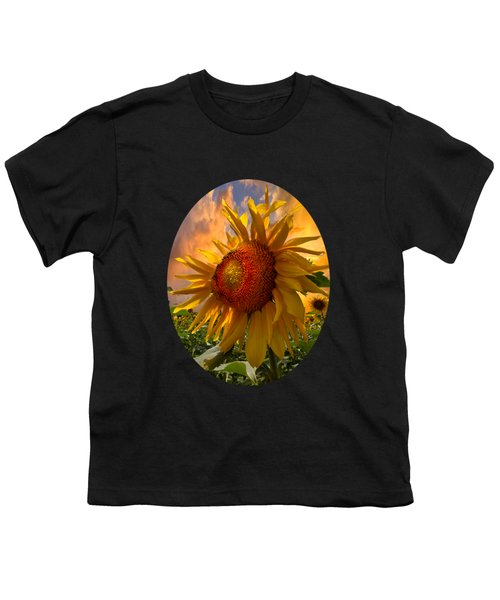 Sunflower Dawn In Oval Youth T-Shirt by Debra and Dave Vanderlaan