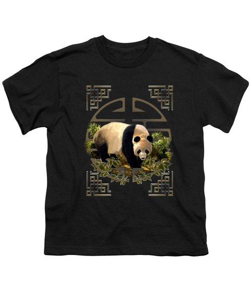 The Panda Bear And The Great Wall Of China Youth T-Shirt by Regina Femrite