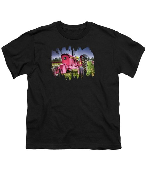 The Pink Tractor At The Wooden Shoe Tulip Farm Youth T-Shirt by Thom Zehrfeld