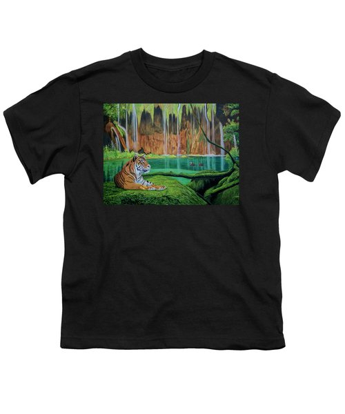Tiger At The Waterfall  Youth T-Shirt by Manuel Lopez