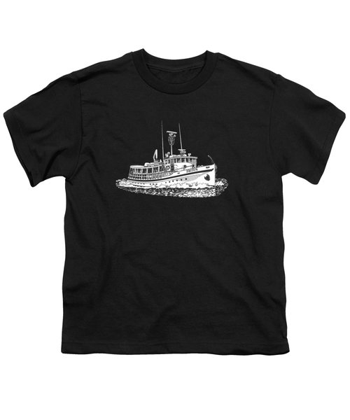 Triton 88 Foot Fantail Yacht Youth T-Shirt by Jack Pumphrey
