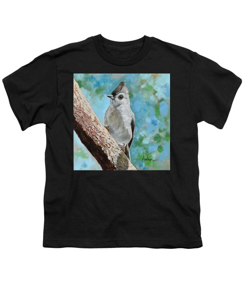 Tufted Titmouse #1 Youth T-Shirt by Amber Foote