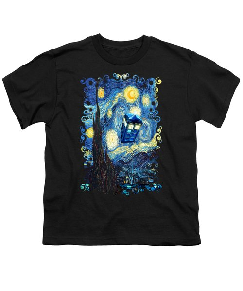 Weird Flying Phone Booth Starry The Night Youth T-Shirt by Three Second