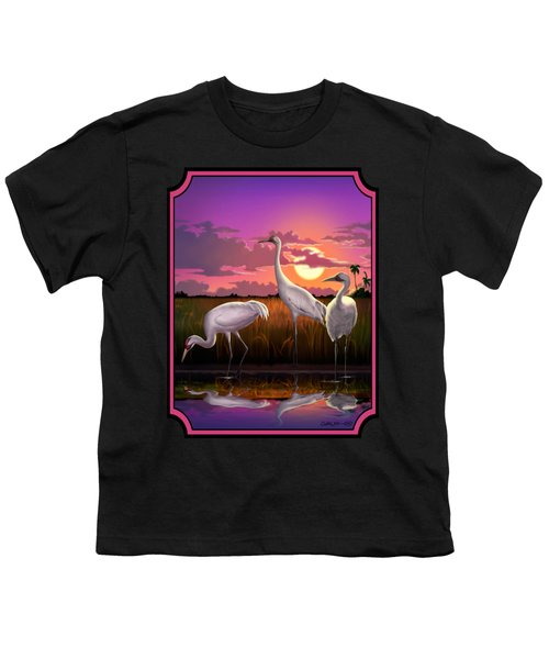 Whooping Cranes Tropical Florida Everglades Sunset Birds Landscape Scene Purple Pink Print Youth T-Shirt by Walt Curlee
