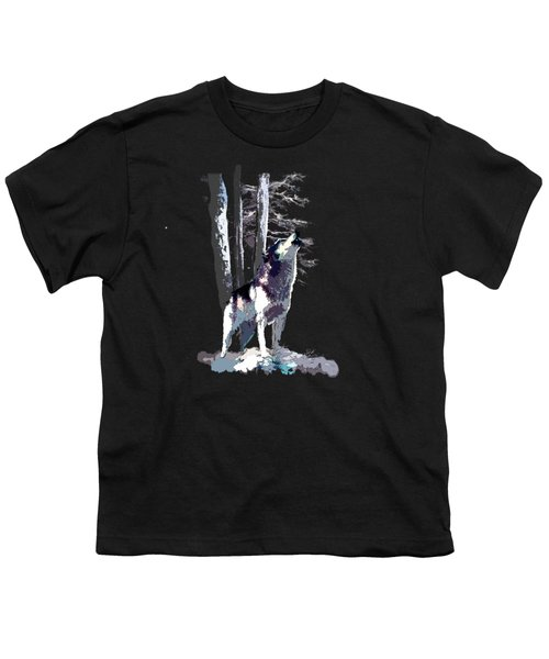 Wolf  Howling Memory Youth T-Shirt by Regina Femrite