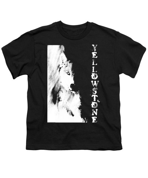 Yellowstone Wolf T-shirt Youth T-Shirt by Max Waugh