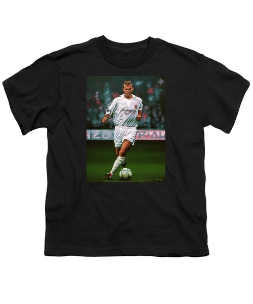 Zidane At Real Madrid Painting Youth T-Shirt by Paul Meijering