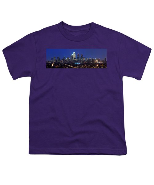Buildings Lit Up At Night In A City Youth T-Shirt by Panoramic Images