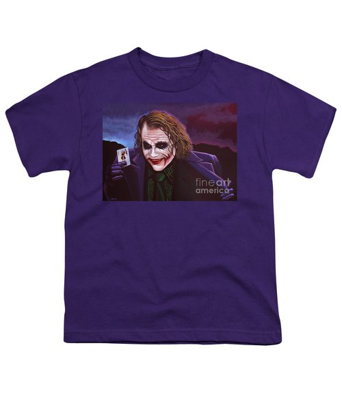 Heath Ledger As The Joker Painting Youth T-Shirt by Paul Meijering