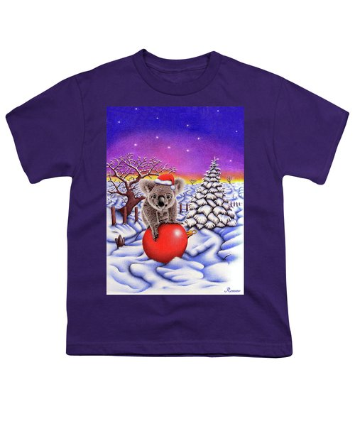 Koala On Christmas Ball Youth T-Shirt by Remrov
