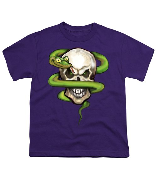 Serpent Evil Skull Youth T-Shirt by Kevin Middleton