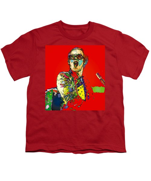 Elton In Red Youth T-Shirt by John Farr