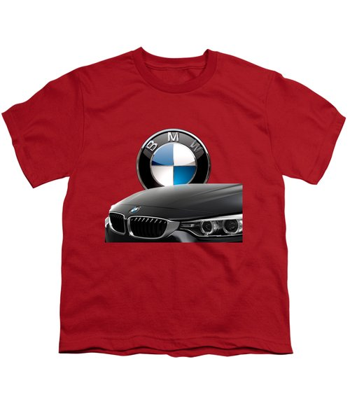 Black B M W - Front Grill Ornament And 3 D Badge On Red Youth T-Shirt by Serge Averbukh